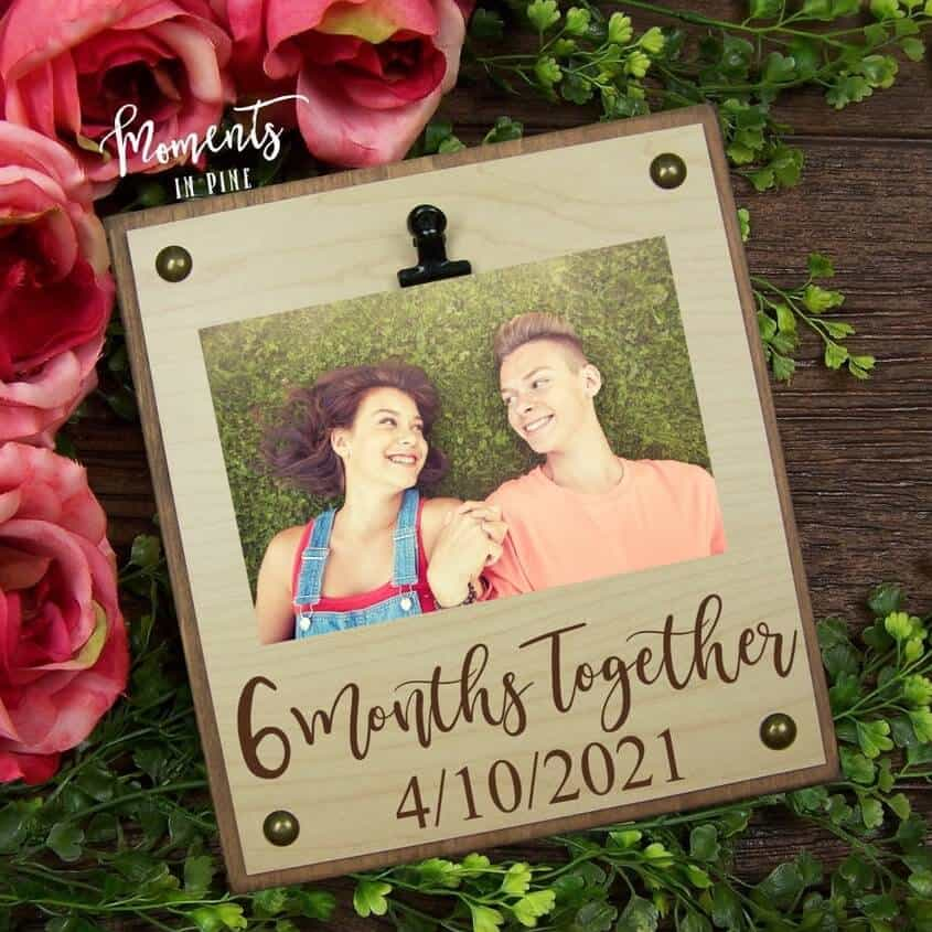 6 months together picture frame for him