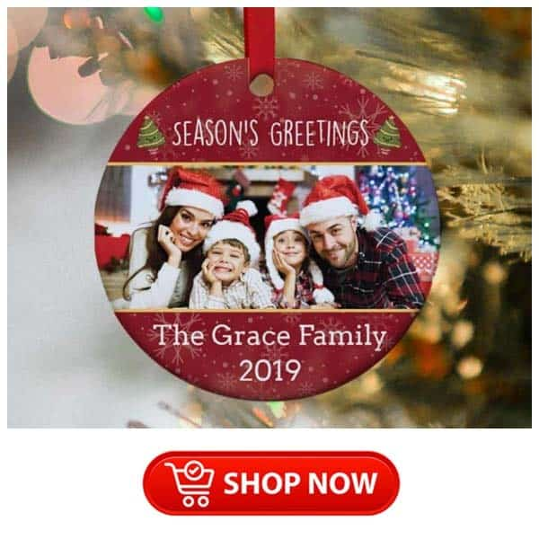 christmas gift ideas for parents: family photo ornament