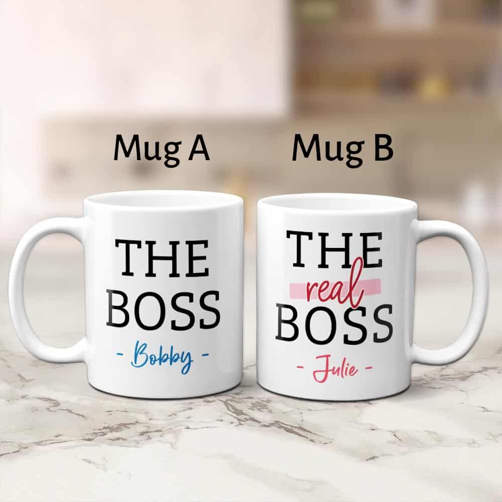 His and hers gifts - The Boss & The Real Boss Personalized Couple Mugs