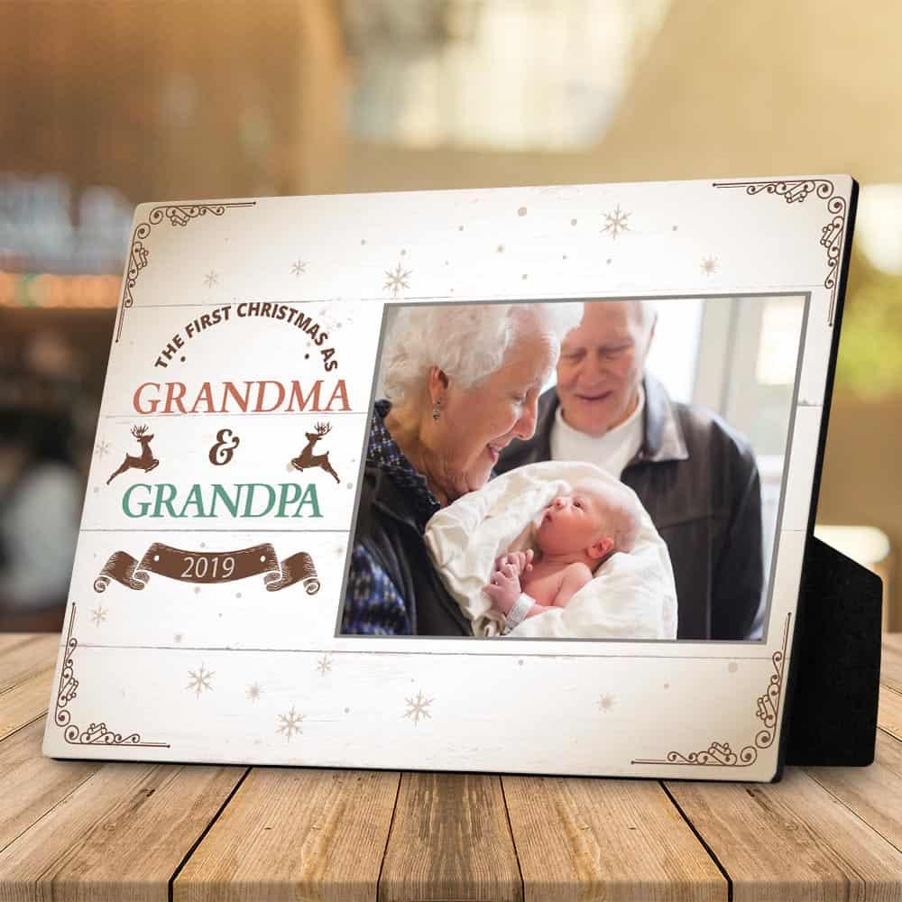 First Christmas As Grandma and Grandpa Desktop Plaque