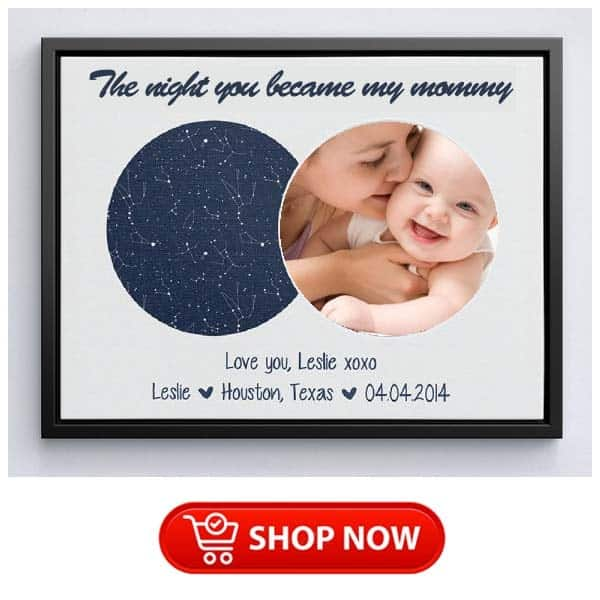 what to get a single mum: The Night You Became My Mommy Star Map Canvas
