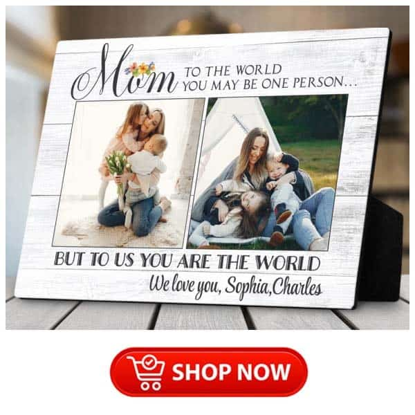 """awesome gifts for single moms: """"To Us You Are The World"""" Plaque"""