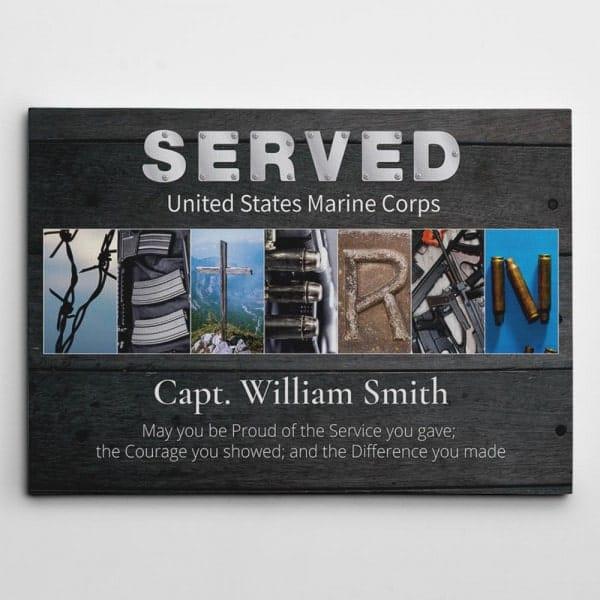 veterans gifts: Veteran Letter Art Canvas