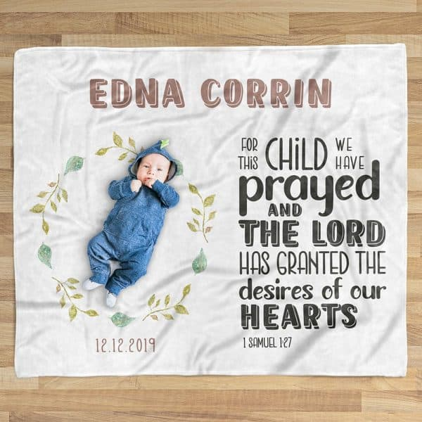 toddler stocking stuffers: For This Child We Have Prayed Custom Name Blanket