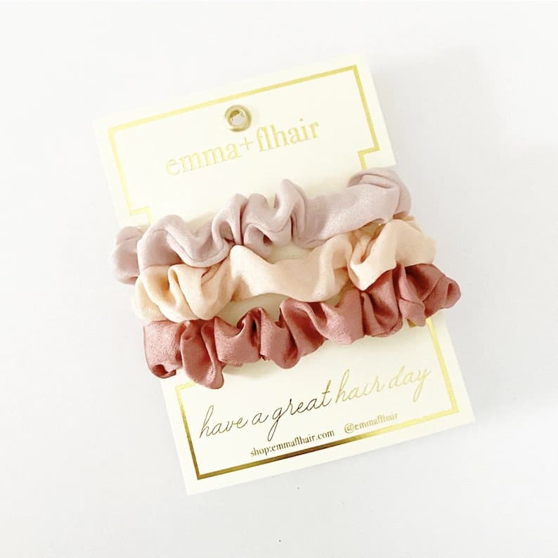 stocking stuffers for girls: mini satin scrunchies