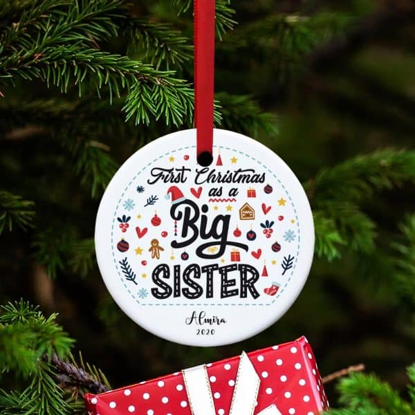stocking stuffer for girls who are going to be sister: Personalized Big Sister's First Christmas Ornament