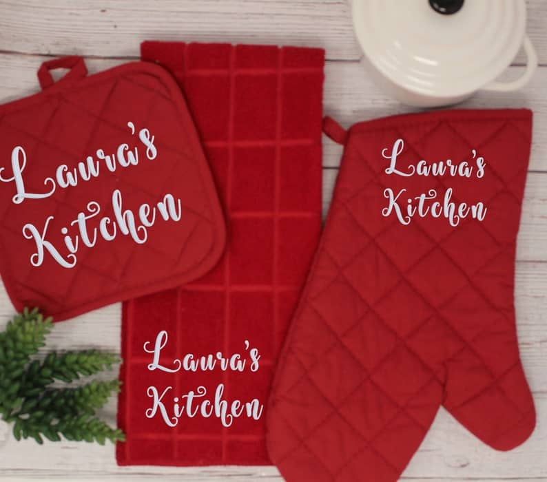 Personalized Embroidered Kitchen Gift Set, gifts to bring as a house guest