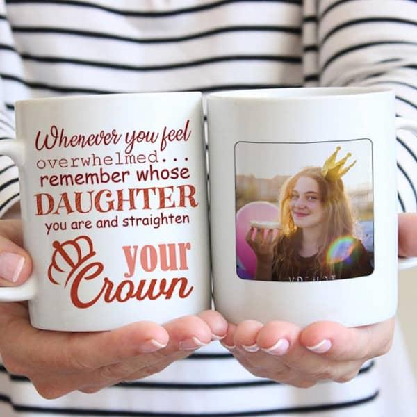 stocking stuffer for daughter: Straighten Your Crown Custom Photo Mug