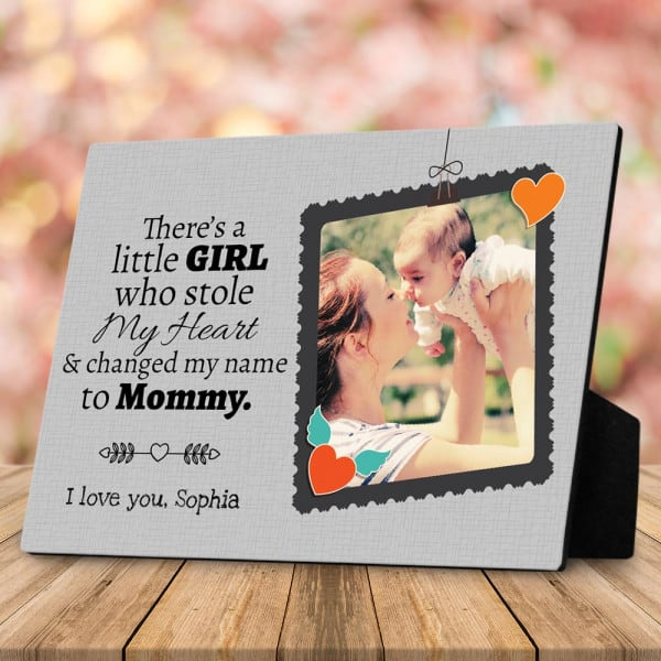 stocking stuffers for daughter: There's A Little Girl Who Stole My Heart Photo Desktop Plaque