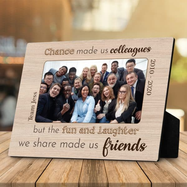 going away gifts: Chance Made Us Colleagues Photo Plaque