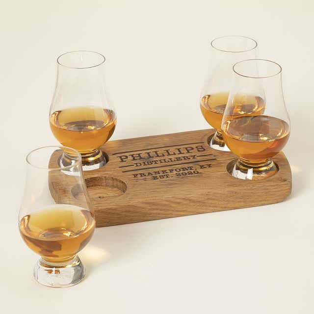 Personalized Bourbon Barrel Flight with Glasses